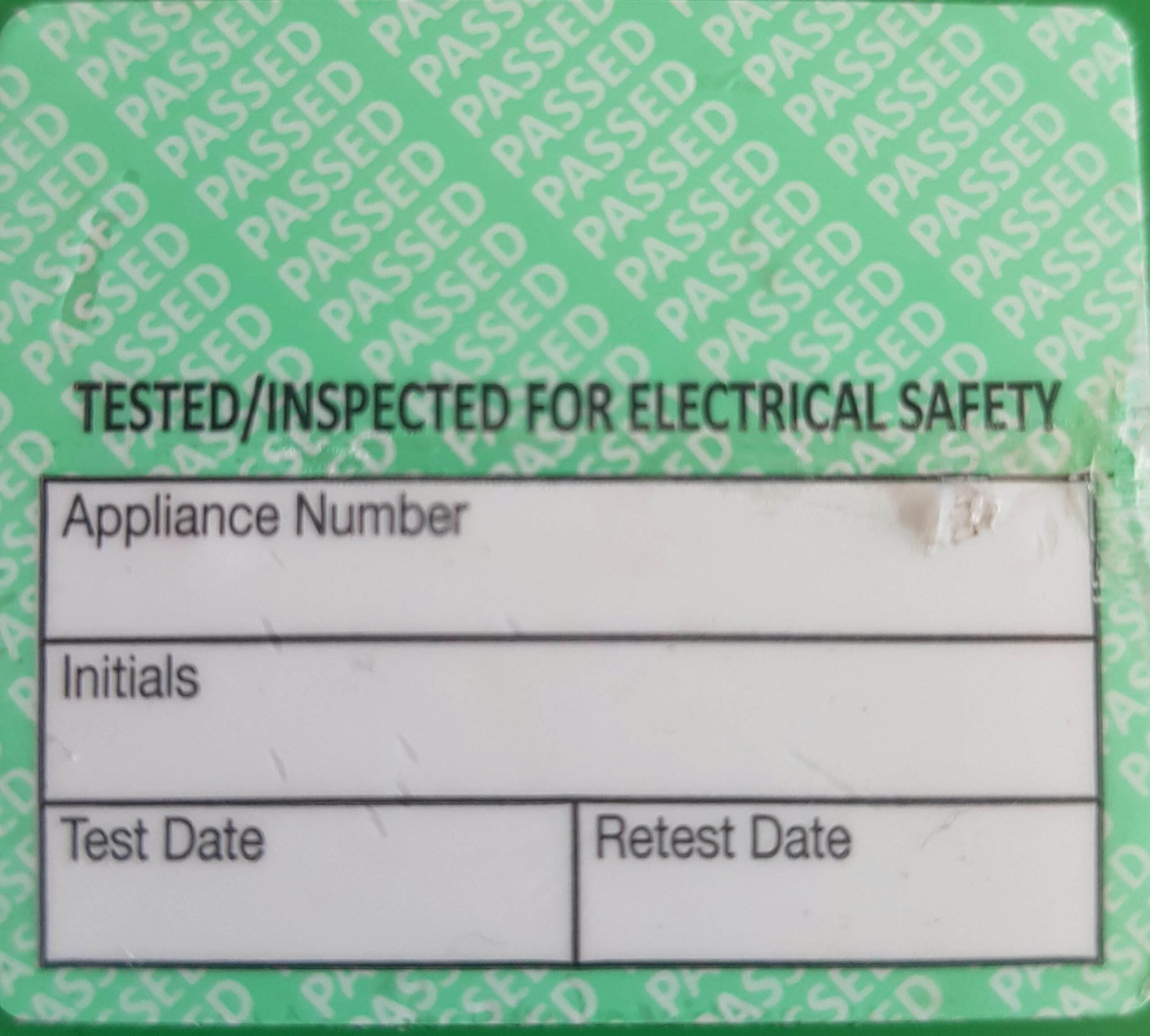 Mark and Seal Passed PAT Testing Labels 40mm x 35mm